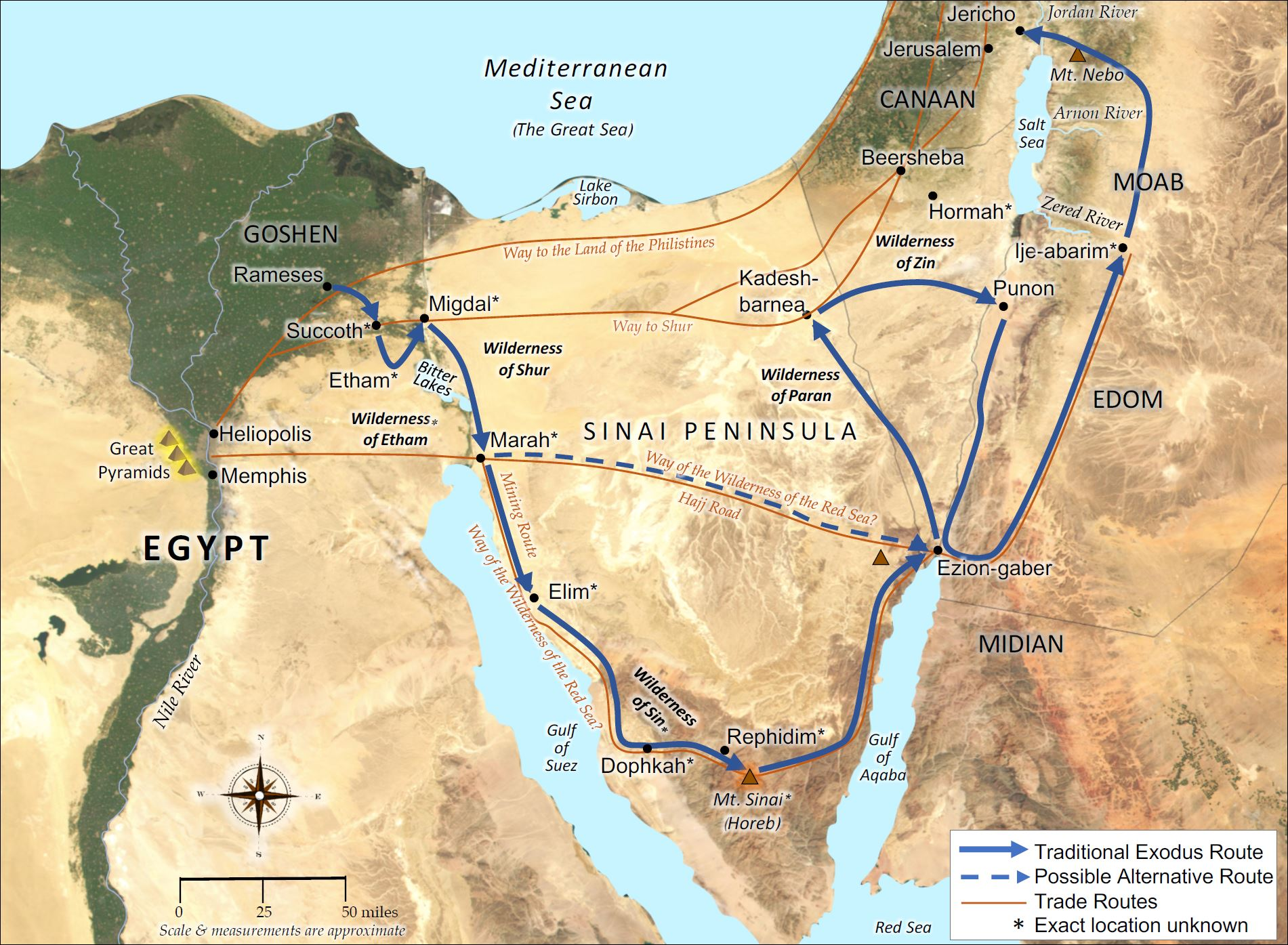 Israel's Exodus from Egypt to Canaan